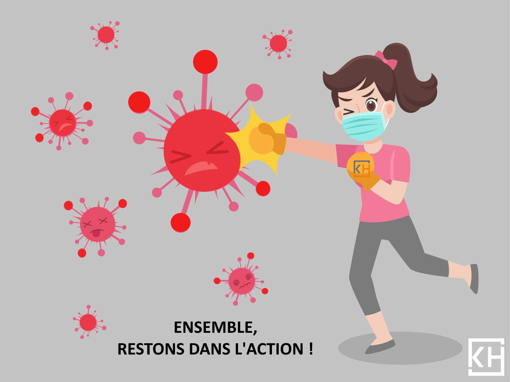 Woman Fight punch virus wearing a surgical protective Medical mask for prevent virus Wuhan Covid-19.Corona virus. Health care concept.